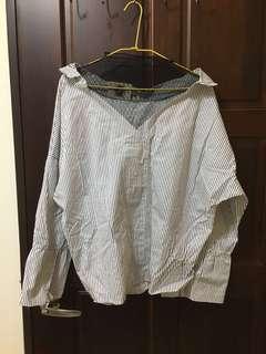 🚚 假兩件網紗襯衫