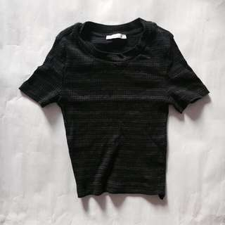 Zara Basic Black and Dark Grey Stripes Tee