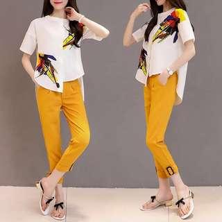 (XL~5XL) European station 2018 printed chiffon shirt + feet pants pants two sets of casual fashion sets