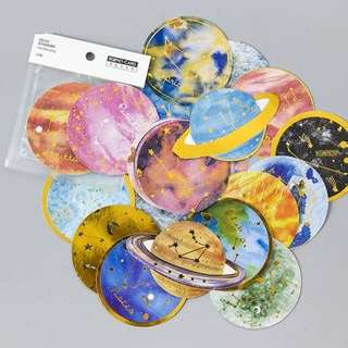 Planets & Astronomy Gold Foil Scrapbook / Planner Stickers #138 (Large)