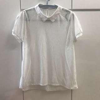 輕薄通爽 白色 有領T恤 上衣