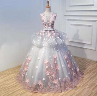 Floral elegant ball prom gown