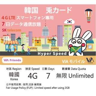 韓國 4G 上網數據卡 7天 無限上網 Korea 4G Data Simcard 7-Day Unlimited
