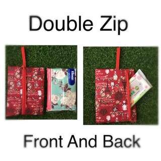Handmade Travel Pack Size Tissue Pouch 2 Zip