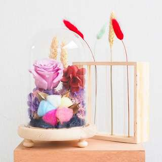 Pink Preserved Rose with Rainbow Cotton Flower