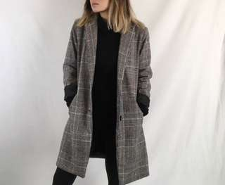 Plaid blazer coat