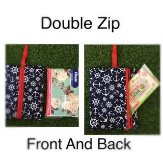 Handmade Travel Pack Size Tissue Pouch 2 Zip