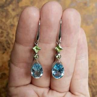 Blue Topaz & Peridot Gemstone Earrings, 4.5 cm drops, Silver