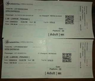 Bus Ticket Larkin Sentral - Penang