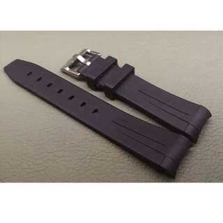 Rolex 專用 代用 RB 膠錶帶 20mm錶帶 Rolex (ref:20RO黑色黑線針扣)