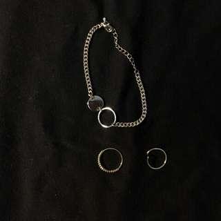 正韓韓國連線黃銅手鏈手鍊戒指組