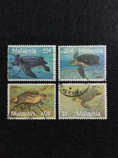 1990 Marine Life S3 Turtles 4 Values Used Set