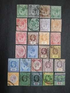 Straits Settlements 1912 1921-1933 King George V Set Up To $5 - 26v Used Malaya Stamps