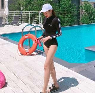 ✔Rashguard Zip Push-up Padded Bikini One-piece Long Sleeve Beach Surf / Swimsuit (Black)