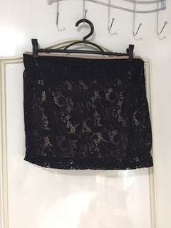 Black Laced Mini Skirt