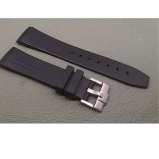 Rolex 專用 代用 RB 膠錶帶 20mm錶帶 Rolex (ref:20RO黑色藍線針扣)