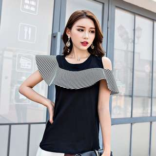 Sleeveless Top with Stripe Frill Off Shoulder Layer