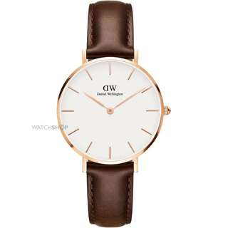 Daniel Wellington Watch 32mm classic petite white rose gold Bristol brown leather