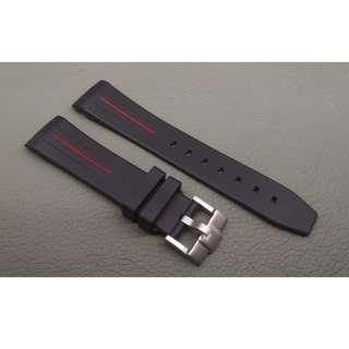 Rolex 專用 代用 RB 膠錶帶 20mm錶帶 Rolex (ref:20RO黑色紅線針扣)