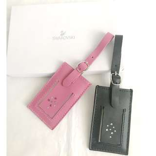 Swarovski pink & black leather luggage tag with crystals 真皮行李牌