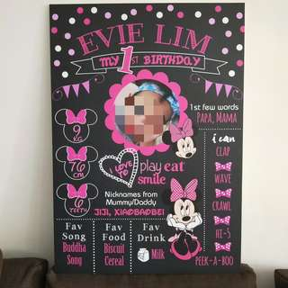 🚚 Minnie Mouse birthday milestone board