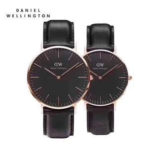 Daniel Wellington Watch 40mm &36mm classic black rose gold couple watch black Sheffield leather strap