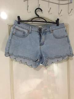 Cotton On Scalloped Maong Shorts