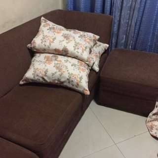 L shape sofa (brown?