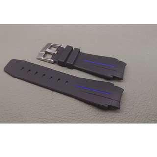 Rolex 專用 代用 RB 膠錶帶 21mm錶帶 Rolex (ref:21RO黑色藍線針扣)