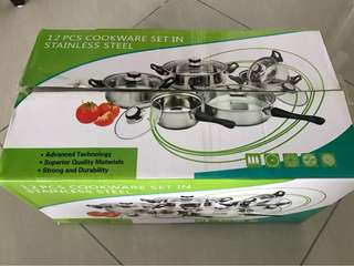[New] 12pcs Stainless Steel Cookware