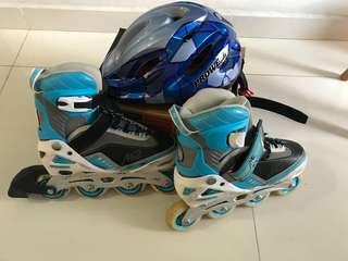 Pre-loved Children Inline Skates (M size - 35-38#) + helmet S size