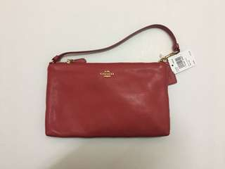 Coach Leather Large Wristlet 25 True Red F12185