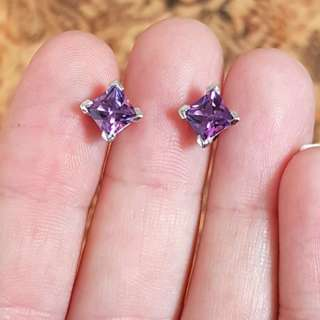 Amethyst Stud Earrings, 925 Sterling Silver, Protection Stone