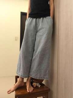 🚚 寬褲 二手 牛仔長褲 淺藍色 無分size 復古風