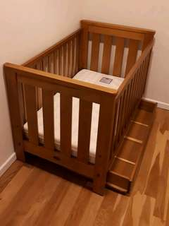 Child's cot, mattress and tidy drawer set