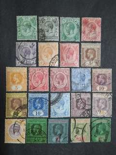 Straits Settlements 1912 1921-1933 King George V Set Up To $5 - 23v Used Malaya Stamps