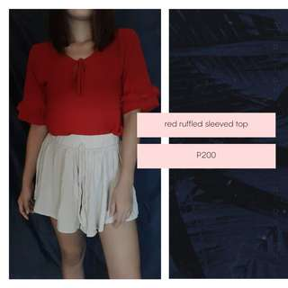 Red ruffled sleeves top