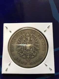 1874年 德意志帝國 威廉皇帝 5 Marks 馬克 銀幣