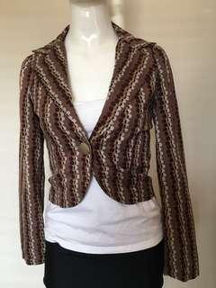 Dangerfield size 6 blazer polka dot blush pink brown white