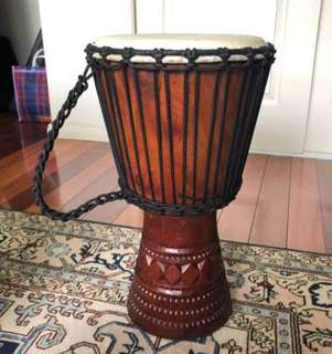 Authentic hand carved African djembe drum