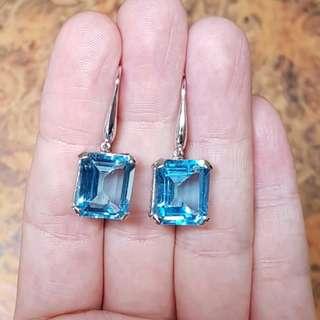 Divine Blue Topaz Earrings, Gemstone of Love & Good Fortune