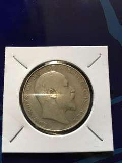 愛德華 銀幣 1906 Half Crown