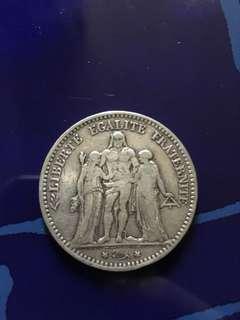 1875 法國 France 大力神 銀幣 品相良好
