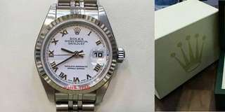 Used Rolex 79174 Ladies White Roman Letter Dial Auto S/S 26mm Full Set Year 2002