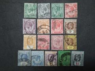 Straits Settlements 1912 1921-1933 King George V Set Up To $1 - 17v Used Malaya Stamps