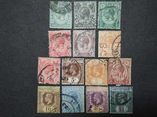 Straits Settlements 1912 1921-1933 King George V Set Up To $1 - 14v Used Malaya Stamps