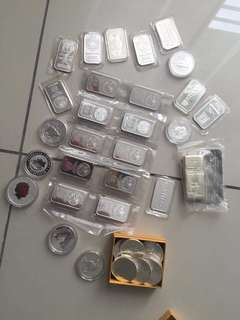 Silver bar and coin Collection for sales