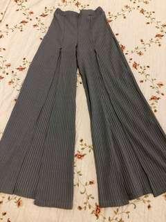 Grey Front Slit Pants