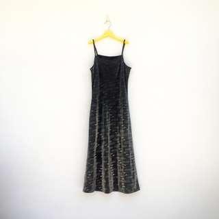🚚 二手 銀黑 閃亮 反光 印花 彈性 洋裝 明太子 610