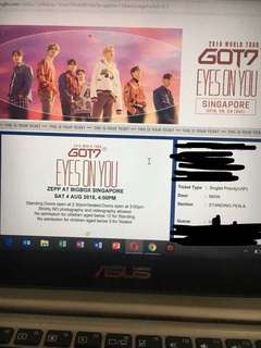 GOT7 Eyes On You 2018 VIP STANDING PEN A TICKET
